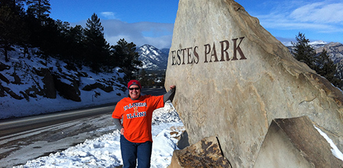 "Hillary Gilfand '83 BUS lives the ""amazing Colorado lifestyle"" in Estes Park, but she still knows how to represent her Alma Mater."