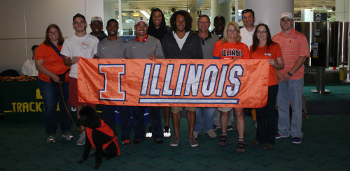 The Portland Illini Club greeted the U of I Track & Field Team as they arrived in Oregon on Monday, June 9.